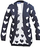 Ladies Heart Print Knitted Open Cardigan UK Size 10,12,14