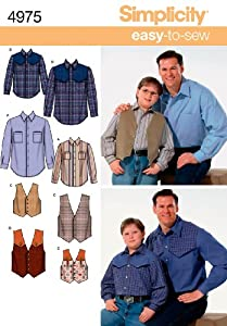 Simplicity Sewing Pattern 4975 Husky Boys and Big and Tall Men Shirts and Vests, A (S-M-L/1XL-5XL)