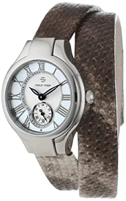 Philip Stein Women's 44-CMOP-UWPY Stainless Steel Watch with Wraparound Python-Embossed Band