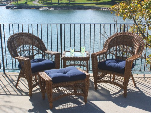 Outdoor Wicker Patio Set with 2 Chairs, Ottoman, Table, in Brown, Plus Navy Sunbrella Cushions