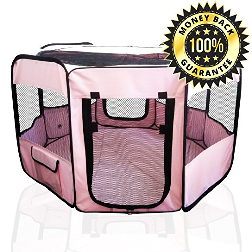 ToysOpoly Pet Playpen 45″ Exercise Puppy Pen Kennel – Best for Dogs and Cats Safe in Their Play-pen While Protecting The Little Kids – Folding Design Easy Storage (Pink)