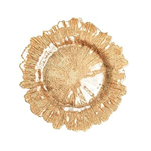 wholesale flora glass 4 count charger plates gold charger service