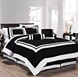 Chezmoi Collection 7 Pieces Caprice Black/White Square Pattern Hotel Bedding Comforter Set (Queen, Black/White)