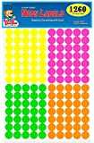 "Pack of 1260 3/4"" Round Color Coding Dot Labels, Bright Neon Multicolored: Yellow, Pink, Green, Orange, 8 1/2"" x 11"" Sheet, Fits Any Printer"