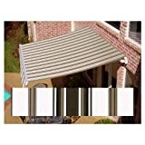 Awntech 18-ft Wide x 10-ft 2-in Projection Brown/White Striped Slope Patio Retractable Remote Control Awning