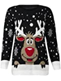 (M) WOMENS KNITTED RUDOLF REINDEER LADIES XMAS CHRISTMAS NOVELTY JUMPER SWEATER TOP | BLK - LS red nose reindeer knit jmpr | SM 8/10