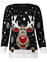 (M) WOMENS KNITTED RUDOLF REINDEER LADIES XMAS CHRISTMAS NOVELTY JUMPER SWEATER TOP | BLK - LS red nose reindeer knit jmpr | ML 12/14