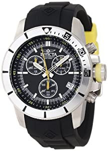 Invicta Men's Quartz Watch with Black Dial Chronograph Display and Black PU Strap 11744