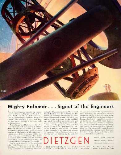 1949 Ad Dietzgen Rudi Palomar Telescope Engineering Astronomy Scientists Sky - Original Print Ad