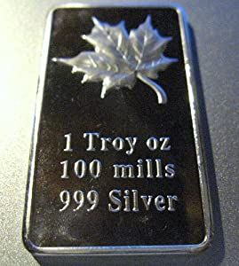 1 Troy Oz .999 Silver Clad Maple Leaf Bu Gem Art Bar