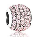 Genuine 925 Sterling Silver Charm Bead, Fushia Crystals, Pave Ball Charm, Charm for: Pandora, Chamilia etc. Compatible with all major brands, Comes with branded gift box, Avangarda Charms, First Class UK Delivery, (Code: SC172)