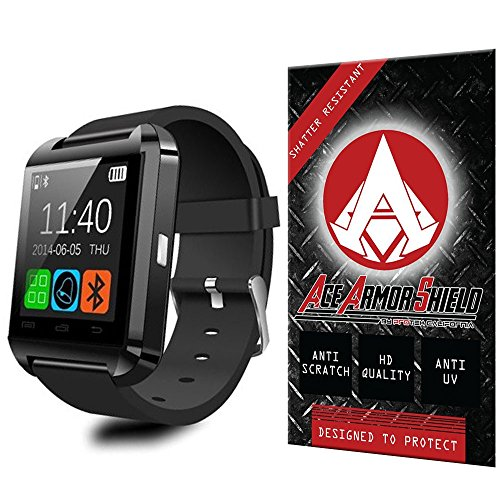 Ace Armor Shield Shatter Resistant Screen Protector for the U-watch U8S Rasse® IPX6 Uwatch / Military Grade / High Definition / Maximum Screen Coverage / Supreme Touch Sensitivity /Dry or Wet Easy Installation with free lifetime replacement warranty