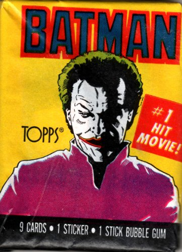 Tim Burton's 1989 Batman Movie Starring Michael Keaton and Jack Nicholson Collectible Trading Cards 1st Series (9 Cards, 1 Sticker and 1 Stick Bubble Gum)
