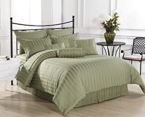Royal Calico 7pc Comforter set Damask Stripe 100% Cotton 350 Thread Count Green, Light Green Comforter set - QUEEN Size Bedding