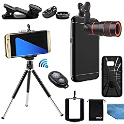 EEEKit 5in1 Photo Kit for Samsung Galaxy S7,Slim Fit Premium Case Cover,Telescope Lens,Tripod,Bluetooth Control,Marco Wide Angle FishEye Lens