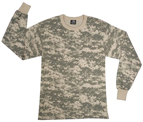Long Sleeve Digital Camouflage Army T-Shirt