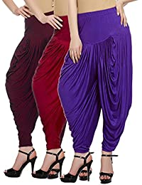 Fashion And Freedom Women's Pack Of 3 Maroon, Red And Violet Lycra Base Viscose Dhoti