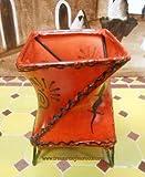 Twist Orange Leather Henna Candle Holder Tea-light Votive Moroccan