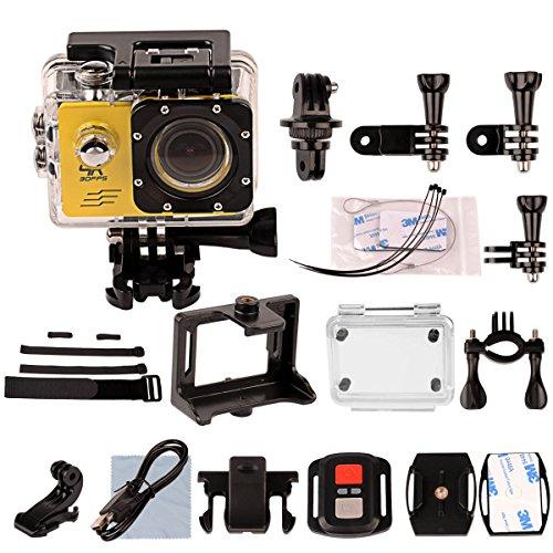 CkeyiN 4K Ultra HD WIFI Camera d'action 12MP 30M Étanche 170 degrés grand angle 2 pouces LTPS écran + Télécommande + Boîtier étanche - Jaune