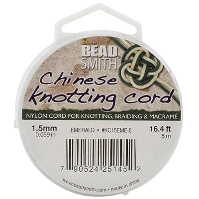 Beadsmith 1.5mm Chinese Knotting Cord, 16.4-Feet Per Spool, Emerald