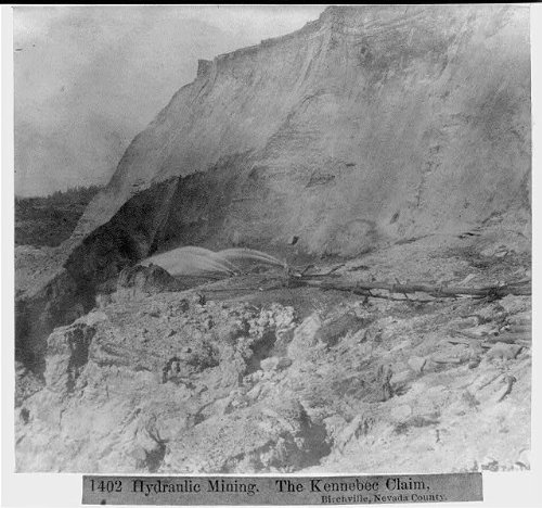 Photo Reprint Hydraulic Mining - the Kennebec Claim, Birchville, Nevada County 1866