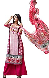 RK Fashion Pink Colour Cotton Embroidered Unstitched Dress Material (KARMIC1077-Pink-Free Size)