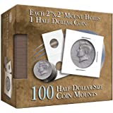 Half Dollar 2x2 Coin Mounts: 100 Count