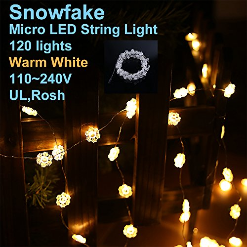 Lidore® Micro Led 120 Glitter Frosted Snowflake Xmas Tree Lights. Warm White. Power Operated On 27.5 Ft Long Silver Color Ultra Thin String Wire