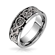 buy King Will 8Mm Concaved Tungsten Carbide Ring Celtic Knot Silver Dragon Plated Wedding Engagement Bands (7.5)