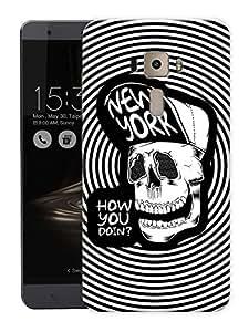 "Hipster Skull ArtPrinted Designer Mobile Back Cover For ""Asus Zenfone 3 Deluxe"" (3D, Matte, Premium Quality Snap On Case)"