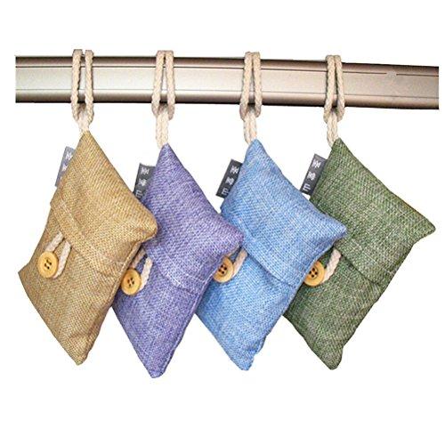 LEORX Bambou de purificateur d'Air naturel de 4 packs sac de charbon de bois, Air Freshener sac (couleur aléatoire)