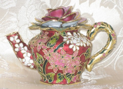 Christmas Gift!!! Collectable Cloisonne Decorative Teapot With Rose On Top