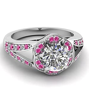 Fascinating Diamonds 1.10 Ct Round Ideal Cut Diamond & Pink Sapphire Engagement Ring Pave Set VS1-G GIA