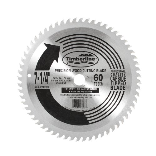 Timberline 175-60C Specialty All Purpose 7-1/4-Inch Diameter By 60-Teeth By 5/8-Inch Bore With Diametermond Knockout Atb Grind Thin Kerf Carbide Tipped Saw Blade