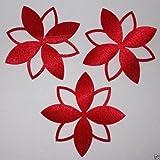 1 Pack 3 Fabric Satin Silk Flower Outline Petal Iron On