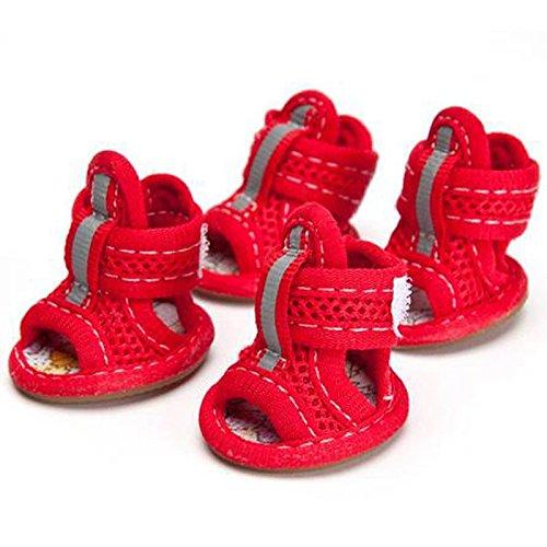Bild von: Semoss Atmungsaktiv Anti-Rutsch Hunde Schuhe Pfotenschutz Boots für Pfoten und Hunde (XXL, Rot)