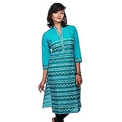 Saamarth Impex Women Cotton Blue Color Work Collar Neck Princess Style Kurti SI-2832