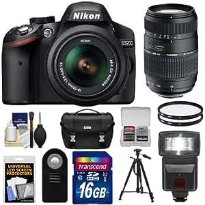 Nikon D3200 Digital SLR Camera & 18-55mm G VR DX AF-S Zoom Lens (Black) with 70-300mm Lens + 16GB Card + Flash + Case + Filters + Remote + Tripod + Accessory Kit