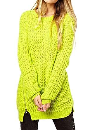 Amazon.com: Muke Women's Winter Side Zippers Wool Knitwear Long Jumper