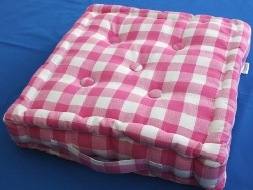 Pink & White Check Floor Cushion - 100% Cotton - 40 x 40 x 10 cm Square - Indoor - Garden - Dining chair booster Seat Cushion Pad