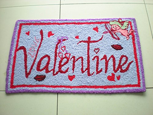 YOYOMALL Personalized Area Rugs,Hand Embroidery Pink Happy Valentine's Day Floor Mats,High Quality Rugs for Bedroom,Cupid's Arrow of Love Print Square Handmade Area Rugs for Living Room.