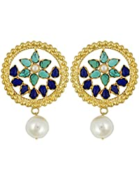 Gehnamart Yellow Gold Plated Pearl And Turquoise Stud Earring - B01BV2JZG0