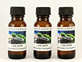 Oakmoss (Mild Scent) 3 Bottles 1/2 Fl Oz Each (15ml) Premium Grade Scented Fragrance Oil By Crazy Candles (Musky, but Softer Than Patchouli with Greens and Woodiness)