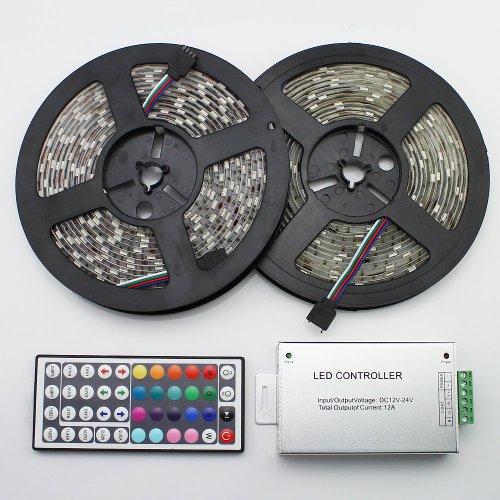 Xkttsueercrr 2*5M 16.4Ft 10M Rgb 5050 Smd 300 Leds Ip65 Waterproof Light Strip Flexible Light Strip Lamp 60Led/M + 12A Rgb 44 Key Ir Remote Controller