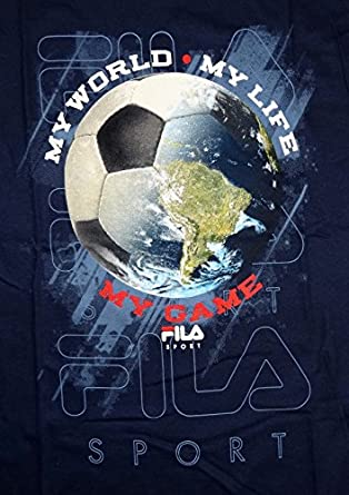 Buy FILA Sports Boys My World Soccer T-Shirt Sz Large Navy Blue Short Sleeves by Fila