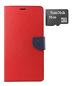YGS Premium Diary Wallet Case Cover For Samsung Galaxy S3-Red With Sandisk Memory Card 16GB