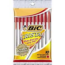 BIC Cristal Stic Ball Pen, Medium Point (1.0 mm), Red, 10-Count