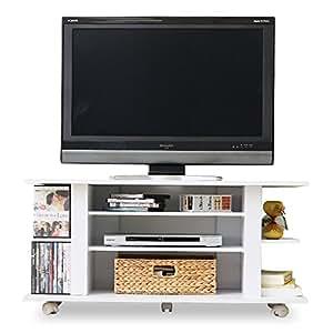 テレビ台 充実収納 キャスター付き コンパクト ~42型対応 幅100cm ホワイト