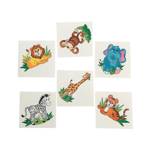 Fun Express 72 Zoo Animal Tattoos - Novelty Jewelry & Tattoos & Body Art Toy - 1