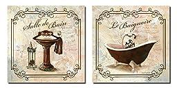 Classic Prints for Decorating Bathroom; Salle De Bain & Le Baignoire (Two 12x12in Prints)